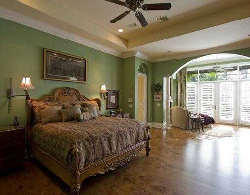 There are two master suites on the first floor and four spacious bedrooms on the second.