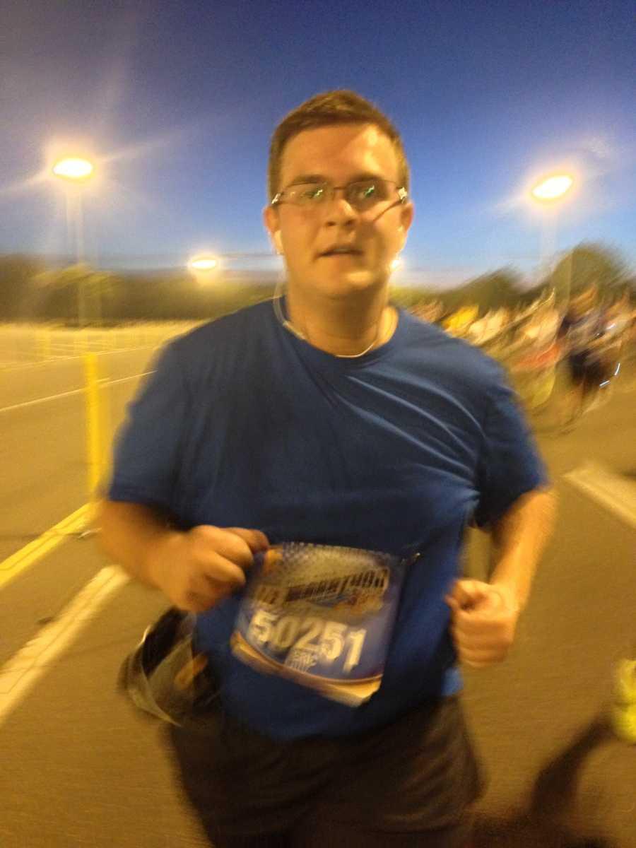 Eric ran at a 16:54 per mile pace.