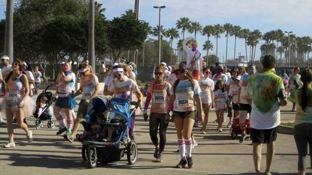 The annual Color Run 5K took to the downtown area near the Florida Citrus Bowl.