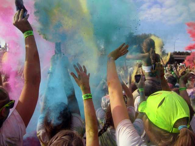 Runners were splashed with paint all along the route.