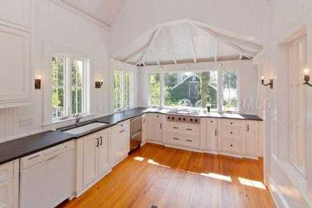 You'll find pine floors throughout the home.