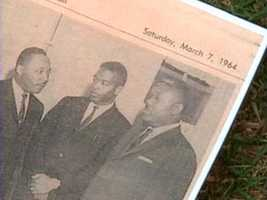 A photo from the newspaper after his speech at Tinker Field.