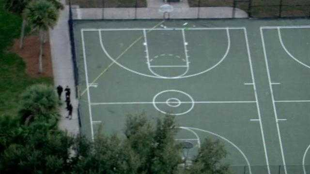 A teenager was shot in the shoulder at an Orlando basketball court Monday afternoon.