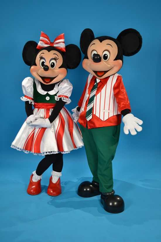 Another holiday look for Minnie included her candy-striped dress to match Mickey.