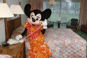 Vintage Minnie Mouse makes a call at the Polynesian Resort in her Luau dress.