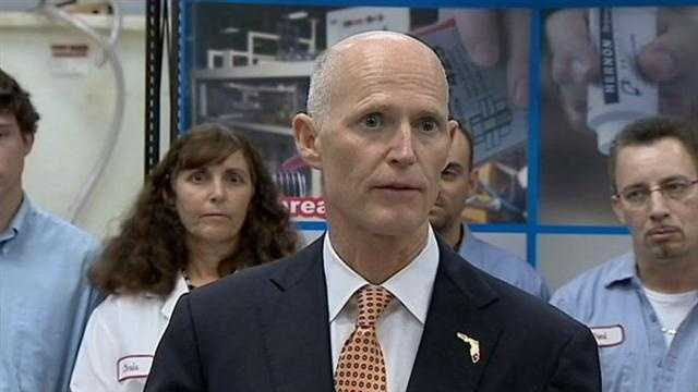 Gov. Rick Scott is using a local business to jump start his push to eliminate yet another business tax.