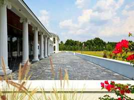 Roman-style pillars line the back of the home.