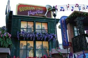 The New Orleans float has the look and feel of Bourbon Street.