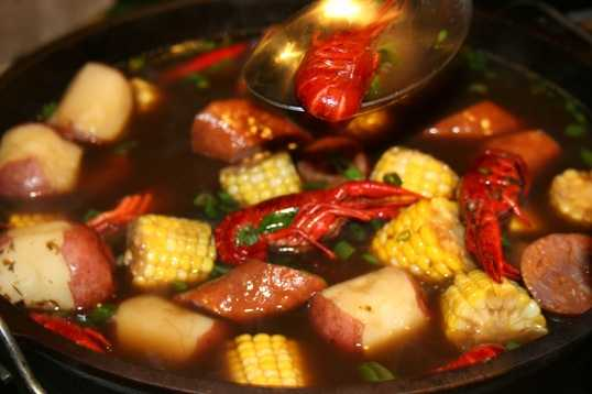 The crawfish broil includes corn, potatoes and more.