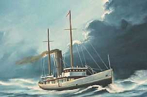 The steam ship Copenhagen was launched on Feb. 22, 1898 and was used to haul cargo across the Atlantic Ocean.