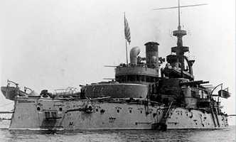 "The oldest existing American battleship, USS Massachusetts was one of three ""Indiana"" class battleships authorized in 1890 for the new ""Steel Navy.""  Officially commissioned by the Navy on June 10, 1896, she was over 350 feet long, with a beam of 69 feet and a draft of 24 feet."
