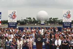 President George H.W. Bush visited Epcot in 1991. He presided over the first Points of Light ceremony honoring volunteers for their service work.
