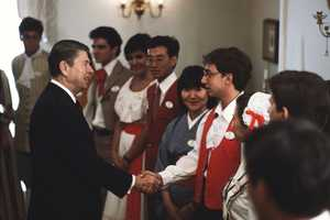 President Ronald Reagan visited Walt Disney World twice. He visited the World Showcase in 1983 and then celebrated his second inauguration at Epcot in 1985.
