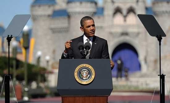 President Barack Obama announced a tourism initiative from the Magic Kingdom on Jan. 19, 2012.