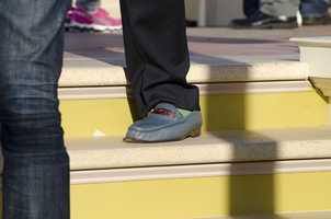 Art's awesome blue shoes.