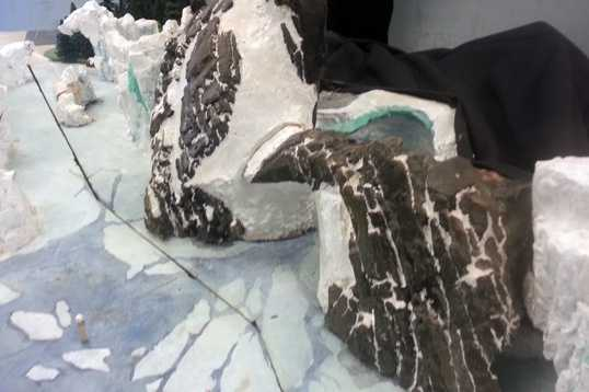 This section of the model shows the entrance to the new ride. Designers call it Penguin Mountain, because it resembles a mother penguin and juvenile penguin.