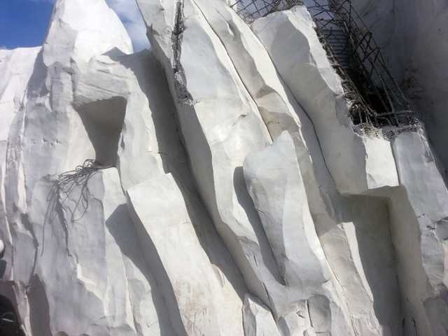 Several of the ice structures have been constructed. A look at the top right of the photo shows you the frame.