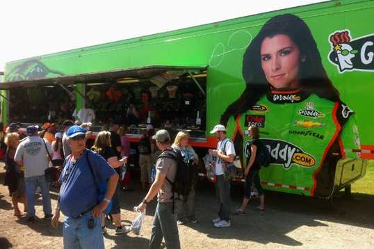 Danica Patrick's merchandise truck had the longest line.