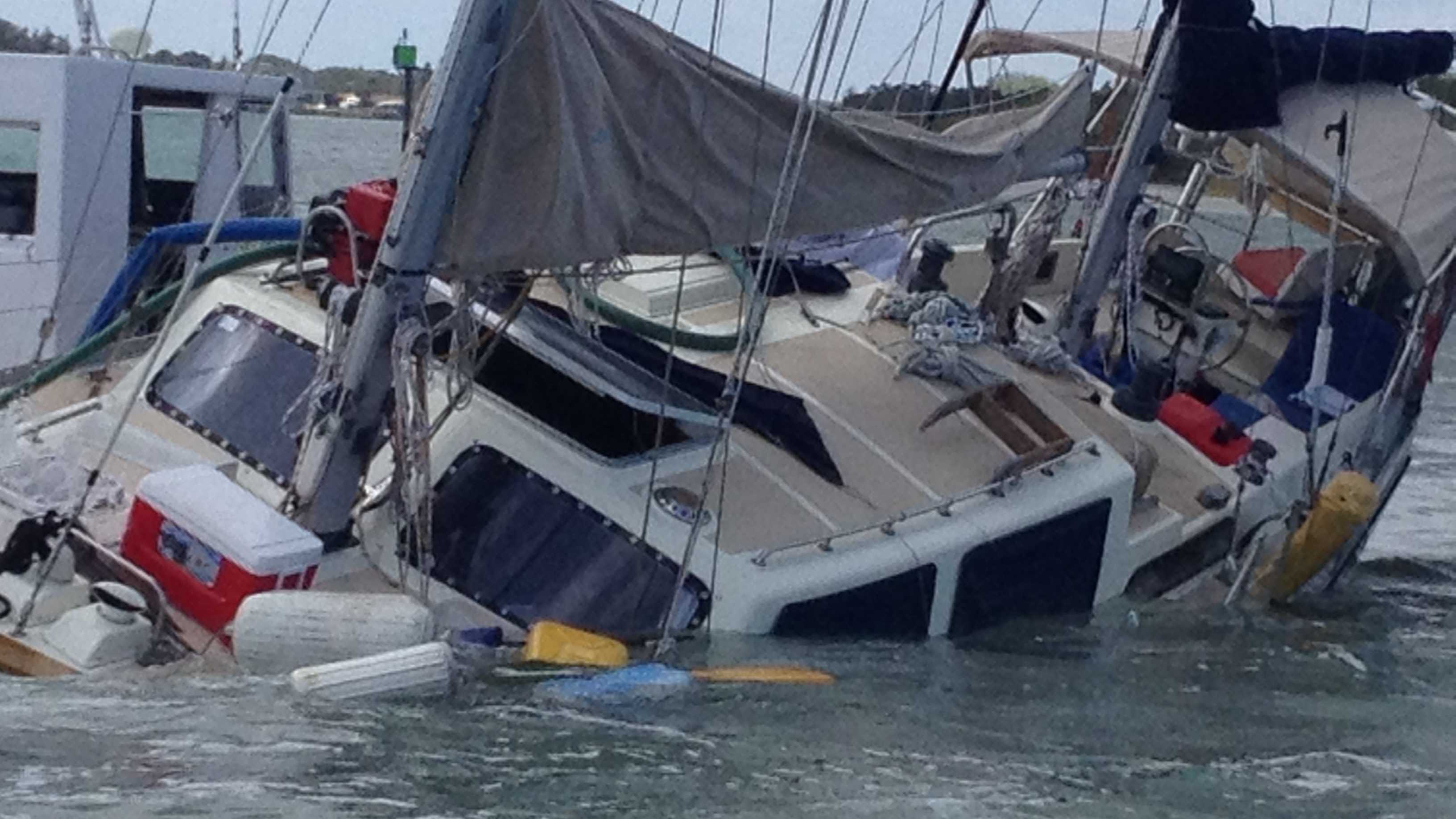 A 42-foot sailboat went down in the Intracoastal Waterway between Ponce Inlet and New Smyrna Beach Friday.