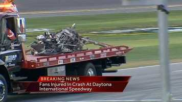 The race debris was removed from the stands, and speedway officials said the incident wouldn't delay the running of Sunday's Daytona 500.