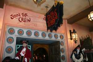 Yo ho, yo ho...the flower design can be found at the entrance of the Pirates League at the Magic Kingdom Park.