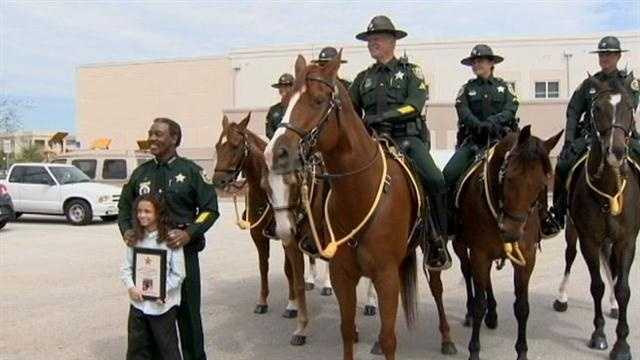 The Orange County Sheriff's Office held a ceremony on Friday to officially name its newest mounted patrol horse.