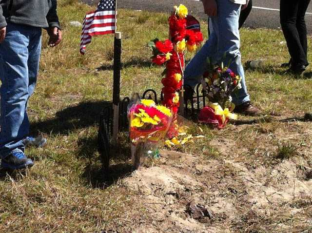 The family of a college student killed in a crash last week visited the crash site for the first time on Monday.
