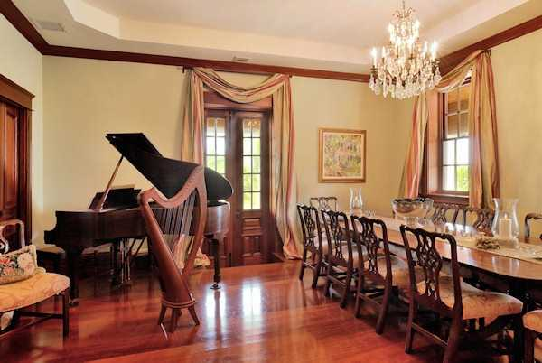 An elegant dining room provides guests with a fine dining experience in your own home.
