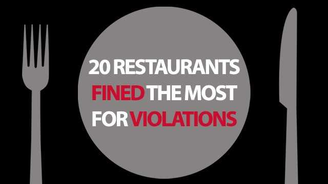 These 20 restaurants in Central Florida were fined the most for violations in 2012. Restaurants are fined for sanitation or safety violations discovered during inspection by  Florida's Division of Hotels and Restaurants. For specific details on inspections for each restaurant, click here.