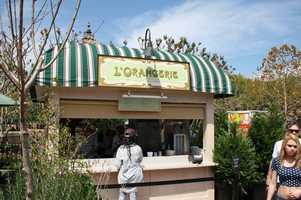 """The La Vie Rose is an elderflower liqueur, vodka, and it's just delicious. It's pink, but it tastes awesome.""L'OrangerieFranceFood:-Tarte à la ratatouille et fromage de chèvre (Try It Selection) (Zucchini, eggplant, bell peppers, onions, and tomato tart with goat cheese)-Terrine Campagnarde, baguette et compote de cerises (Country-style pâté with baguette and cherry compote)-Verrine charlotte au pèches (Caramelized peaches and rosemary and light vanilla cream)To drink:-La Vie Rose Frozen Slush (Grey Goose Vodka Orange, St. Germain liquor, White and Red Cranberry Juice)-Muscat Pétillant, Sparkling Muscat Charles de Fère-Chardonnay, White Burgundy, Macon Village Georges Duboeuf-Cabernet Sauvignon, Bordeaux Beau-Rivage-Biere Kronenbourg Blanc 1664 (Fruity White Beer with Citrus Notes)"