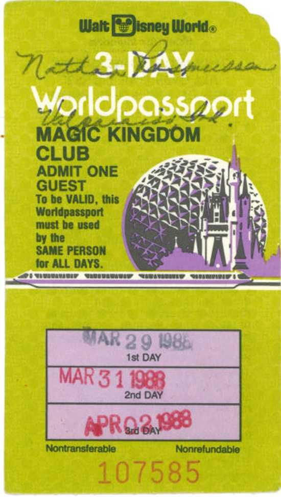 Can you remember what your ticket looked like the first time you visited the Walt Disney World parks?  Here is a look back at some tickets.