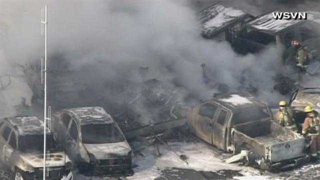 Three people are believed dead in a plane crash near the Fort Lauderdale Executive Airport on Friday. Several cars caught fire.