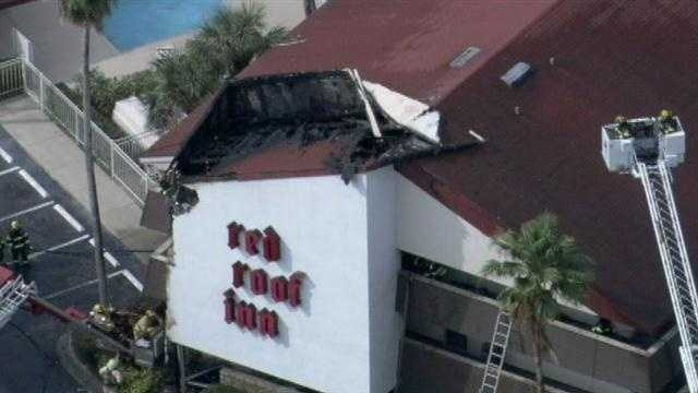 Flames broke out Monday morning at the Red Roof Inn on Kings Heath Road in Osceola County.