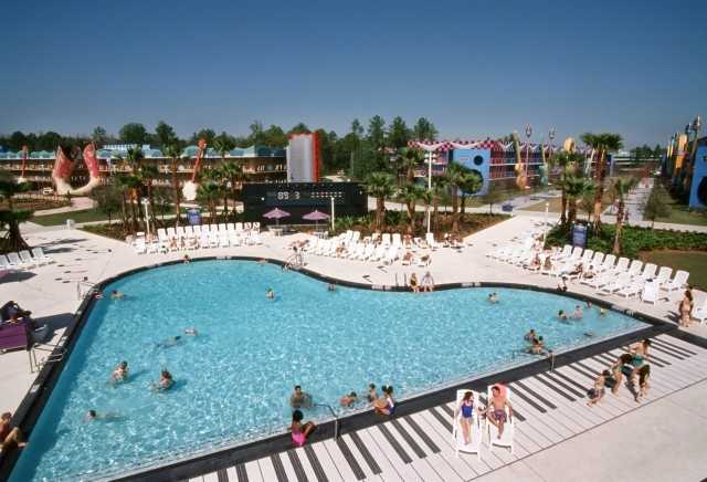 A specially-themed piano swimming pool is the centerpiece of Disney's All-Star Music Resort. Guests can swim in more than 160,00 gallons of water.