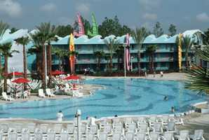 Disney's All-Star Sports Resort features Surfboard Bay, the resort's adult pool.  It has more than 240,000 gallons of water and is wheelchair accessible.