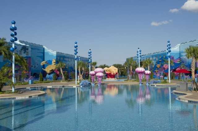 "The ""Finding Nemo"" wing of Disney's Art of Animaton Resort opened May 31, boasting the largest resort swimming pool at Walt Disney World Resort. The ""Big Blue"" pool measures 11,589 feet."