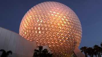 Many fans love to take photos in front of the Epcot ball.