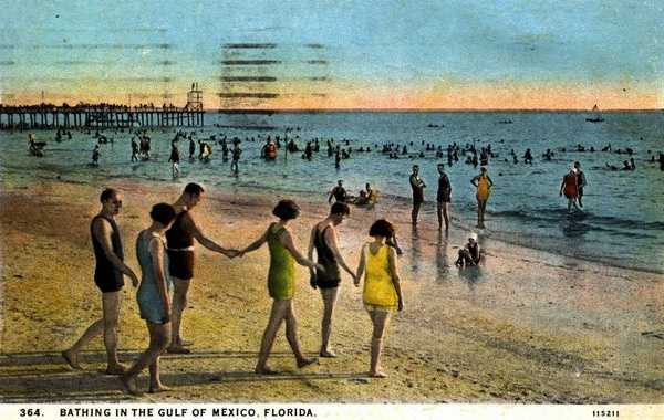 Swimming or bathing in the Gulf of Mexico in 1927.