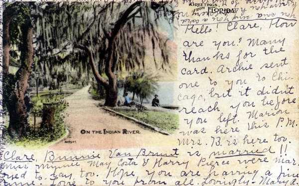 A well-used postcard from the Indian River in 1907.