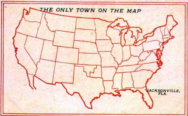 Jacksonville is pointed out as the only town on the United States map in this postcard.