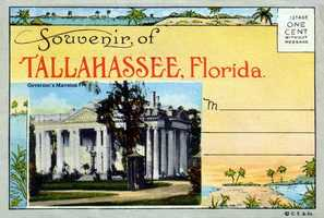 Grab a souvenir in Tallahassee -- this postcard of the Governor's Mansion.