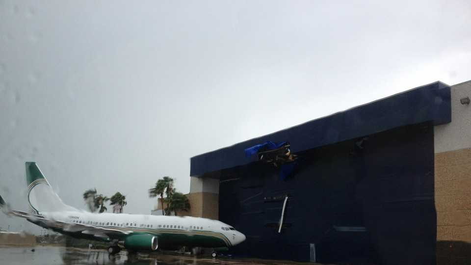 See images of damage caused by severe weather in Central Florida on Sunday. This plane was blown into a hangar at OIA.