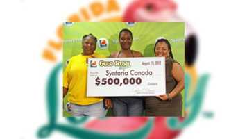 Syntoria Canada of Palatka won $500,000 in a Gold Rush Tripler Scratch-Off game.