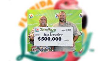 Joie Brownlow, of Lakeland, won $500,000 on a Gold Rush Tripler Scratch-Off game.