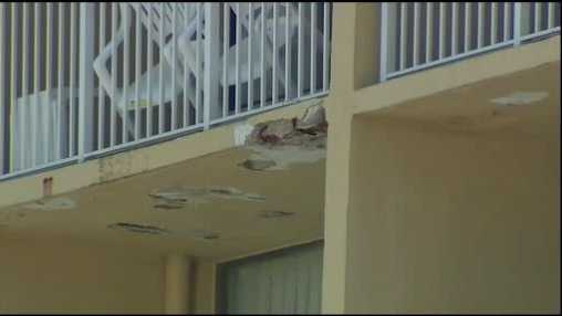 A family from West Virginia was hit and injured by a piece of balcony from the floor above near Daytona Beach.