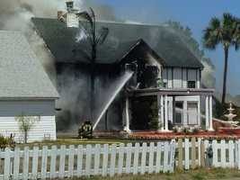 Crews worked to save a home from fire in Rockledge on Tuesday.