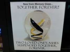 Loved one's ashes can be suspended within a piece of glass together.