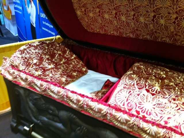 One of the more fancy caskets on display.