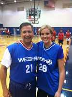 Greg Fox and Meredith McDonough lead the WESH All-Stars in a matchup against the faculty at Lake Brantley High School.