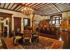 Brazilian walnut floors can be seen throughout the mansion's kitchen and casual dining room.